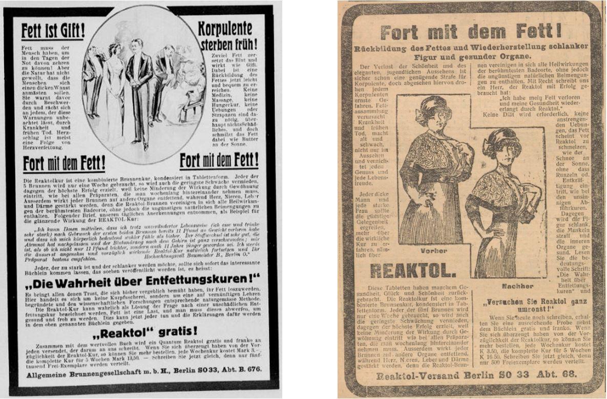 25_Der Welt-Spiegel_1913_02_13_p7_Illustrierte Kronen-Zeitung_1914_11_29_Nr5356_p14_Schlankheitspraeparate_Reaktol_Geheimmittel_Korpulenz