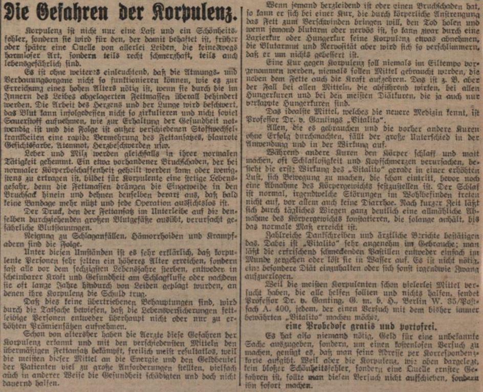 28_Illustrierte Kronen-Zeitung_1912_05_08_Nr4436_p10_Schlankheitspraeparate_Vitalito_Professor-Dr-von-Ganting_Geheimmittel_Korpulenz
