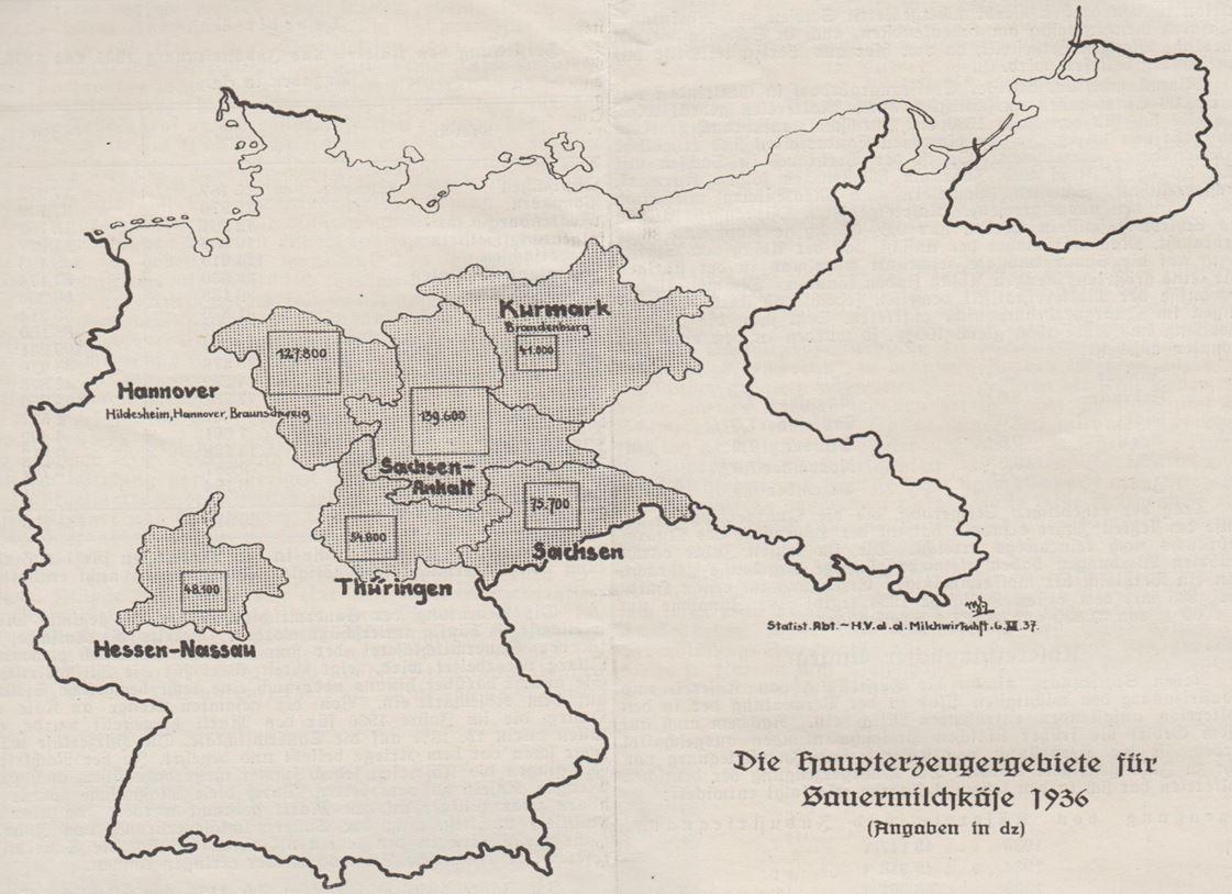 01_Die Kaese-Industrie_11_1938_p036_Kaese_Sauerkaese_Regionale-Verzehrsunterschiede_Karte_Mitteldeutschland
