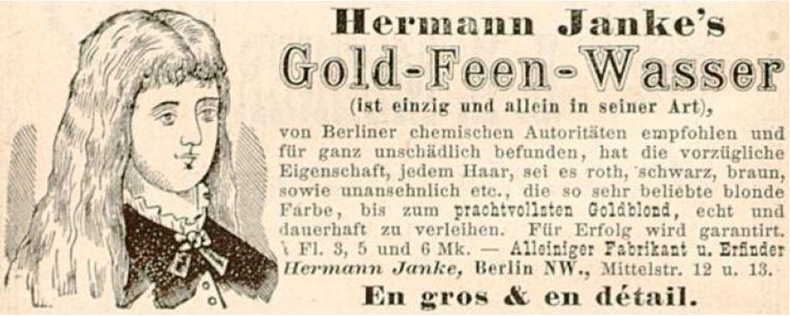 02_Boerner-Henneberg_Hg_1883_Annoncen_p80_Haarpflege_Haarfaerbemittel_Gold-Feen-Wasser_Hermann-Janke_Wasserstoffperoxid