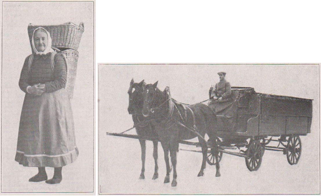 02_Die Kaese-Industrie_01_1927-28_p079_Kaese_Sauerkaese_Hausierin_Stadt-Land_Fuhrwerk