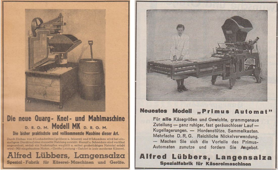 03_Die Kaese-Industrie_09_1936_p40_ebd_11_1938_p15_Kaeseproduktion_Sauermilchkaese_Maschinenbau_Kaesereimaschinen_Alfred-Luebbers_Langensalza
