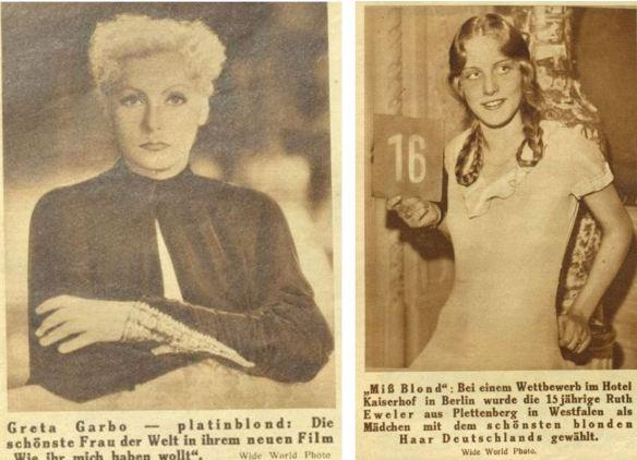 08_Das interessante Blatt_51_1932_Nr24_p06_Ebd._Nr11_p06_Filmschauspielerinnen_Greta-Garbo_Ruth-Eweler_Blondinen_Schoenheitswettbewerb