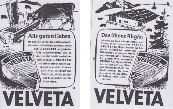 08_Die Stimme der Frau_1_1948-49_H10_p29_ebd_H08_p31_Schmelzkaese_Velveta_Alpen_Allgaeu_Kraft