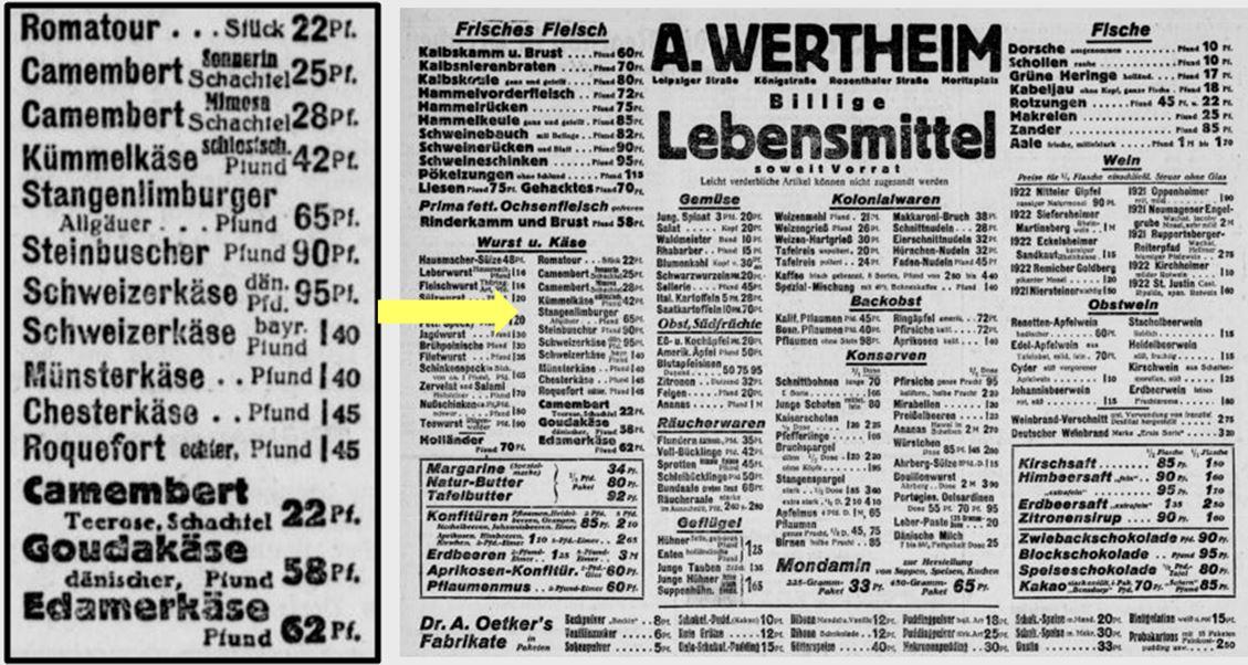10_Berliner Volkszeitung_1925_05_01_Nr204_p4_Warenhaus_Wertheim_Lebensmittel_Kaese