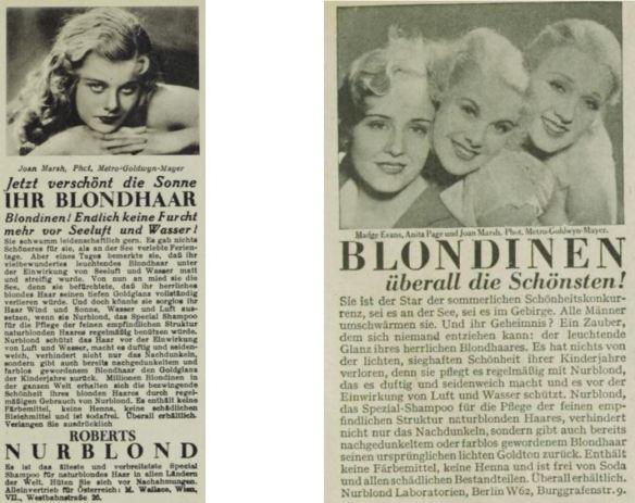 11_Die Buehne_1932_H333_p25_Das Magazin_08_1931-32_Nr96_p117_Filmschauspielerinnen_Blondinen_Nurblond_Haarshampoo_Joan-Marsh_Madge-Evans_Anita-Page