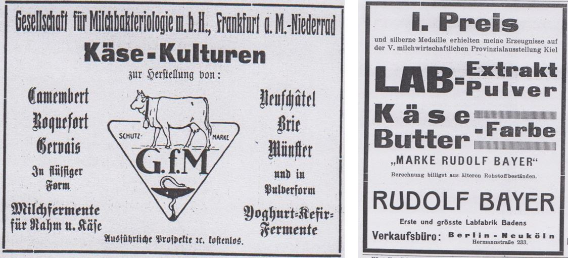 12_Milchwirtschaftliches Zentralblatt_54_1925_p48_ebd_52_1923_p72_Kaeseproduktion_Lab_Fermente_Lebensmittelfarbe