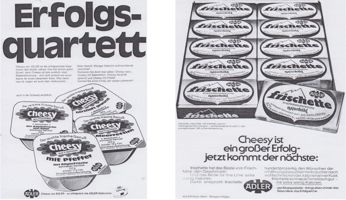 14_Der Verbraucher_1974_Nr04_p13_ebd_Nr20_p05_Frischkaese_Cheesy_frischette_Adler_Wangen_Plastikverpackungen