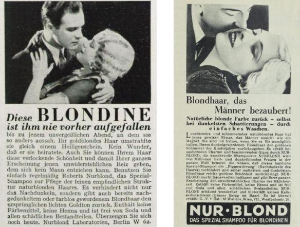 14_Revue des Monats_07_1932-33_Nr01_p91_Die Buehne_1935_H406_p05_Haarpflege_Haarshampoo_Nurblond_Mann-Frau