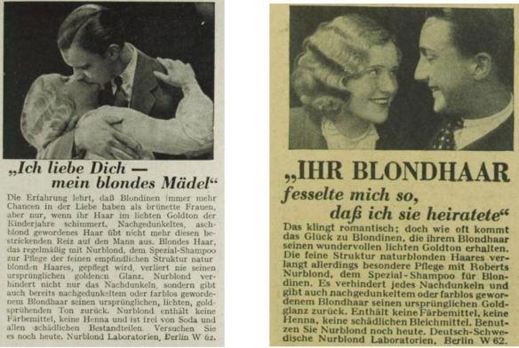 15_Revue des Monats_07_1932-33_Nr02_p189_Das Magazin_07_1931_H07_p683_Haarpflege_Haarshampoo_Nurblond_Mann-Frau