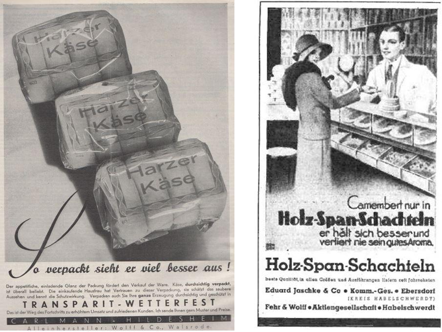 16_Die Kaese-Industrie_11_1938_p069_Deutsche Handels-Rundschau_28_1925_p285_Kaese_Harzer-Roller_Verpackungen_Cellophan_Holzspanschachteln