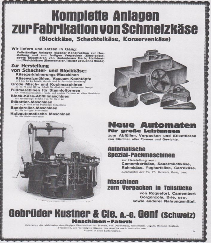 17_Sueddeutsche Molkerei-Zeitung_50_1929_Festschrift_p65_Maschinenbau_Kaeseproduktion_Schmelzkaese_Verpackungsmaschinen_Kustner_Genf