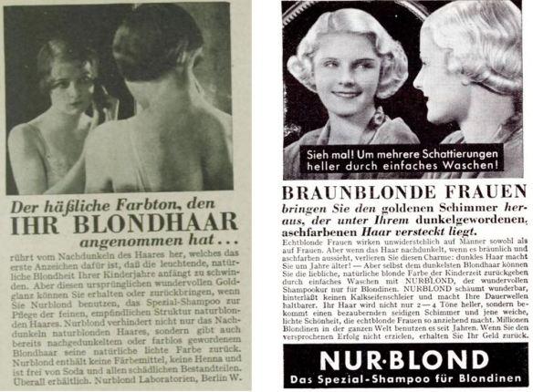 18_Das Magazin_09_1932-33_Nr97_p115_Illustrierter Beobachter_11_1936_p1550_Haarpflege_Haarshampoo_Nurblond_Spiegel