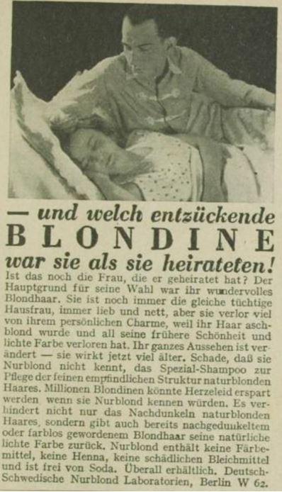 19_Das Magazin_08_1931-32_Nr92_p7119_Haarpflege_Haarshampoo_Nurblond_Mann-Frau