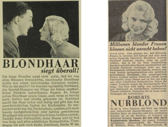 20_Das Magazin_09_1932-33_Nr101_p115_Das Blatt der Hausfrau_48_1932-33_H07_p180_Haarpflege_Haarshampoo_Nurblond_Blondinen
