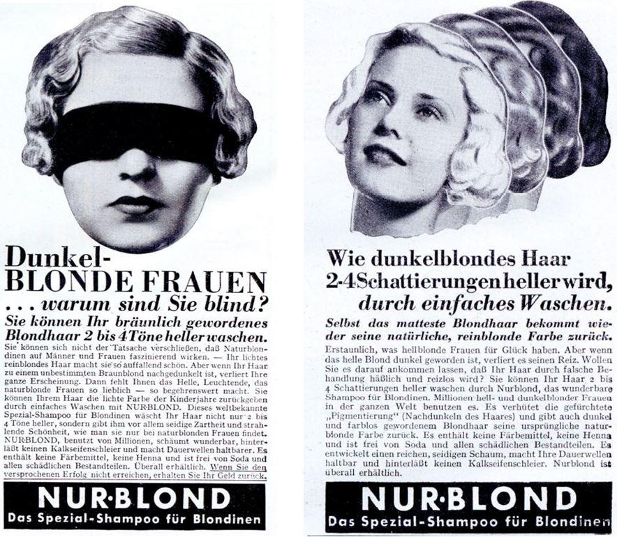 21_Illustrierter Beobachter_11_1936_p656_Ebd._p436_Haarpflege_Haarshampoo_Nurblond_Blondinen