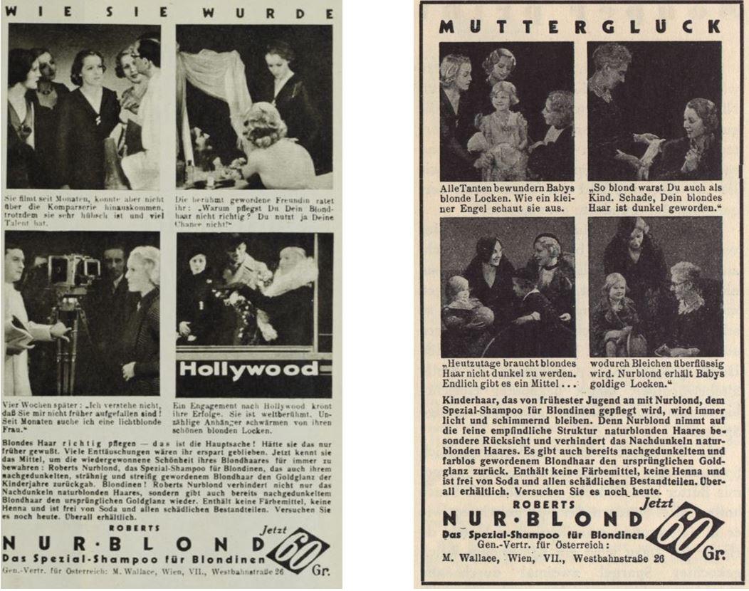 24_Die Buehne_1933_H360_p17_Moderne Welt_14_1932-33_H09_p59_Haarpflege_Haarshampoo_Nurblond_Photogeschichten_Comic