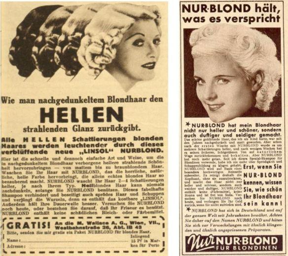 27_Das interessante Blatt_57_1938_Nr16_p17_Film-Woche_17_1939_p185_Haarpflege_Haarshampoo_Nurblond