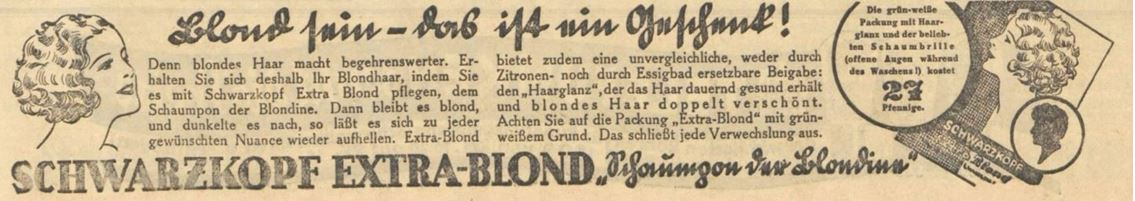 29_Vorwaerts_1932_09_03_Nr409-415_p09_Haarpflege_Haarshampoo_Extra-Blond_Schwarzkopf_Verpackung