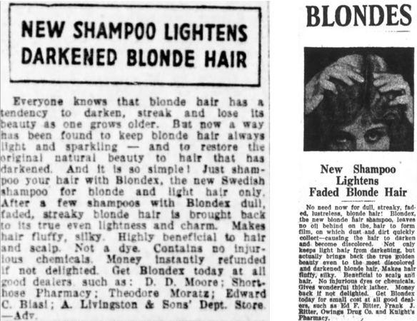 33_The Pantagraph_1924_06_12_p06_Journal Gazette_1924_10_09_p09_Haarpflege_Haarshampoo_Blondex