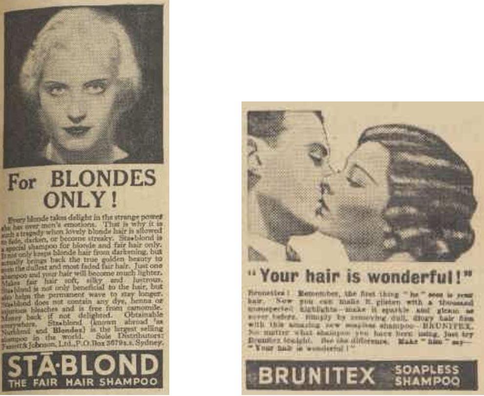 39_Australian Women's Weekly_02_1934-35_Nr52_p43_Ebd_1940-41_Nr09_p31_Haarpflege_Haarshampoo_Stablond_Brunitex