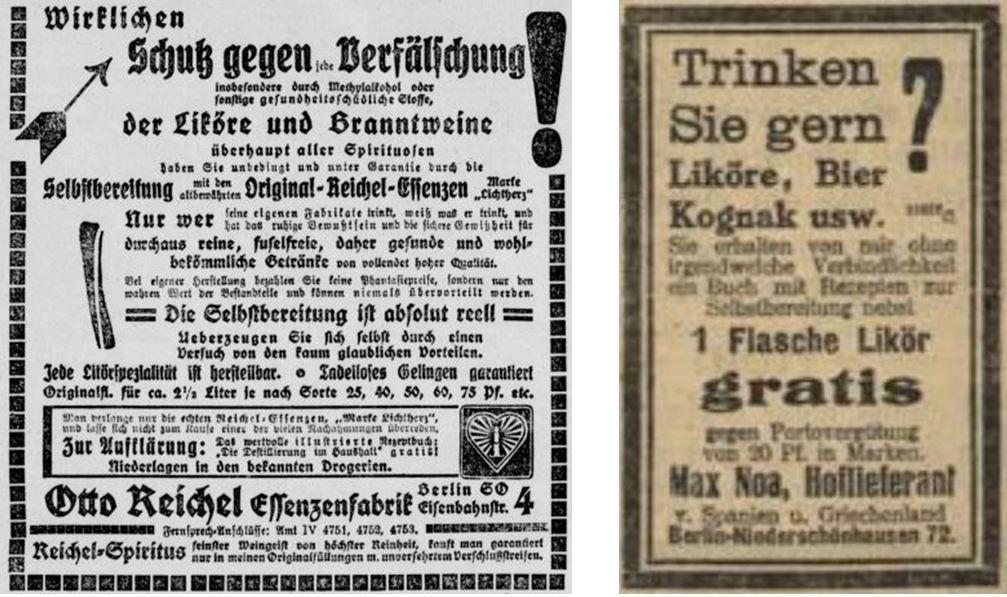 29_Berliner Volks-Zeitung_1912_01_09_Nr013_p10_Badische Presse_1912_02_10_Nr070_p06_Otto-Reichel_Max-Noa_Essenzen_Spiriuosen_Likoer_Selbstbereitung_DIY