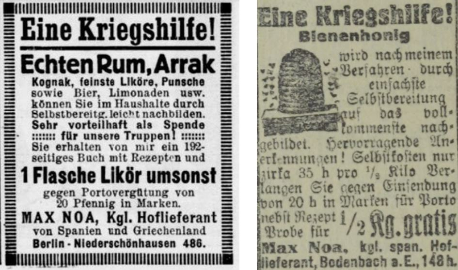 36_Haus Hof Garten_37_1915_Nr07_sp_Neues Wiener Tagblatt_1915_02_14_Nr043_p70_Max-Noa_Essenzen_Selbstbereitung_Spirituosen_Bienenhonig_DIY