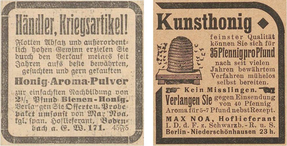 37_Grazer Volksblatt_1915_04_11_Nr244_p12_Der Wahre Jacob_34_1917_p9252_Max-Noa_Ersatzmittel_Bienenhonig_Kunsthonig_Selbstbereitung_DIY
