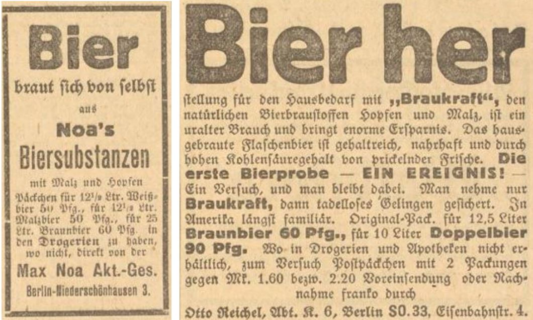 41_Des Lahrer hinkenden Boten neuer Kalender_1925_Werbung_p11_ebd_p15_Max-Noa_Otto-Reichel_Bier_Heimbrauen_Selbstbereitung_DIY
