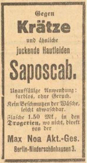 42_Des Lahrer hinkenden Boten neuer Kalender_1925_Werbung_p27_Geheimmittel_Heilmittel_Max-Noa_Saposcab_Hautpflege_Hautcreme