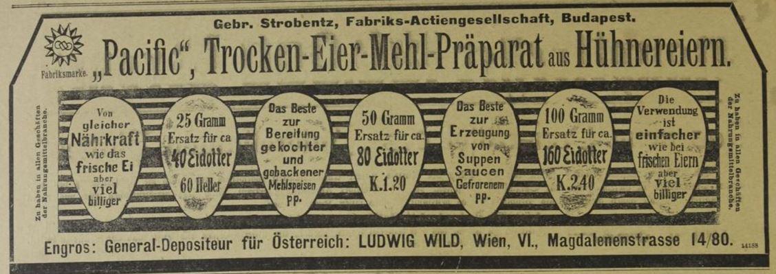 02_Das interessante Blatt_24_1905_Nr39_p32_Eier_Trockeneier_Pacific_Ludwig-Wild_Wien_Strobentz_Budapest
