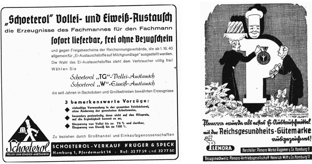 04_Mehl und Brot_40_1940_p455_Ebd_42_1942_p123_Eier_Austauschstoffe_Ersatzmittel_Schoeterol_Plenora_Hamburg