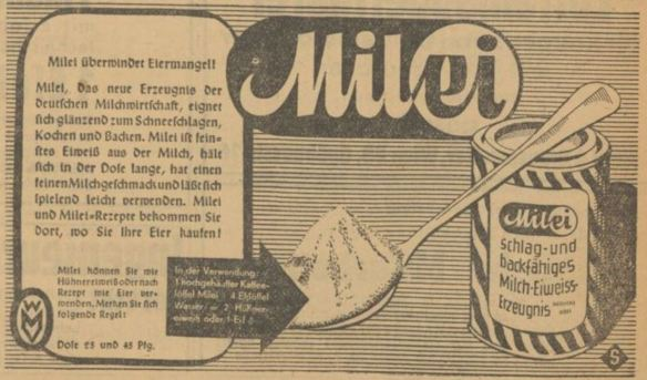 05_Voelkischer Beobachter_1939_03_05_Nr064_p17_Austauschstoffe_Milei_Eier_Verpackung_Stuttgart