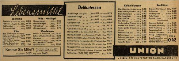 06_Badische Presse_1939_02_09_Nr040_p05_Filialbetrieb_Union_Lebensmittel_Milei_Karlsruhe