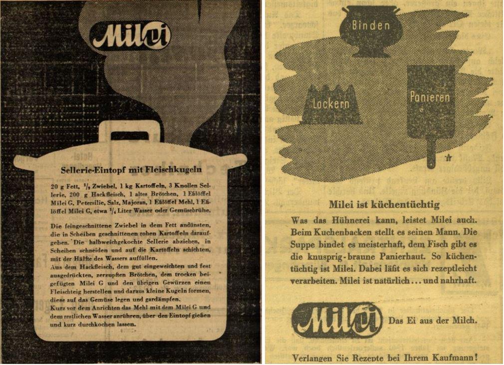22_Straßburger Neueste Nachrichten_1941_04_16_Nr104_p852_Illustrierte Kronen-Zeitung_1941_05_31_Nr14862_p10_Milei_Austauschstoff_Eier