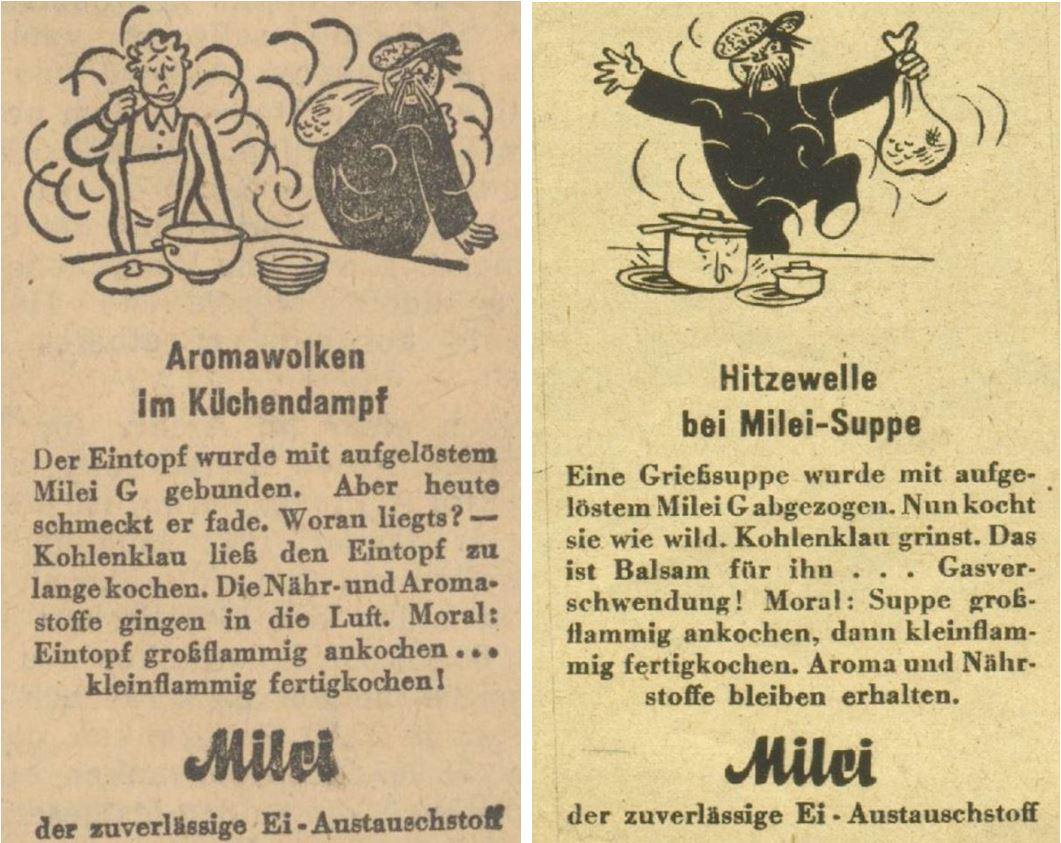 26_Voelkischer Beobachter_1943_04_14_Nr104_p6_Wiener Illustrierte_1943_05_26_Nr21_p08_Milei_Kohlenklau_Austauschstoff_Eier_Kochen