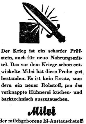 28_Tages-Post-Linz_1942_12_01_Nr284_p6_Nahrung_Waffe_Schwert_Milei_Austauschstoff_Eier