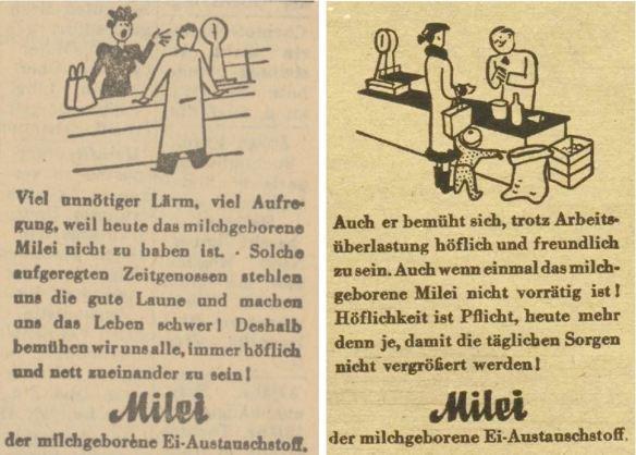 29_Oberdonau-Zeitung_1944_01_09_Nr008_p8_Wiener Illustrierte_64_1944_Nr15_p08_Milei_Kaeufer-Verkaeufer_Einzelhandel_Hoeflichkeit_Einkaufen_Laden