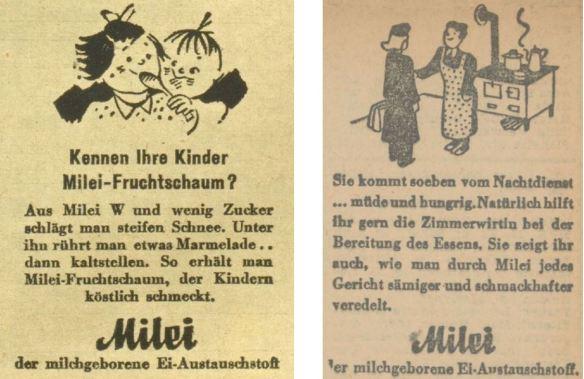 31_Wiener Illustrierte_62_1943_Nr33_p08_Oberdonau-Zeitung_1944_08_17_Nr226_p5_Milei_Fruchtspeise_Eier_Austauschstoff_Frauenarbeit_Nachbarschaftshilfe