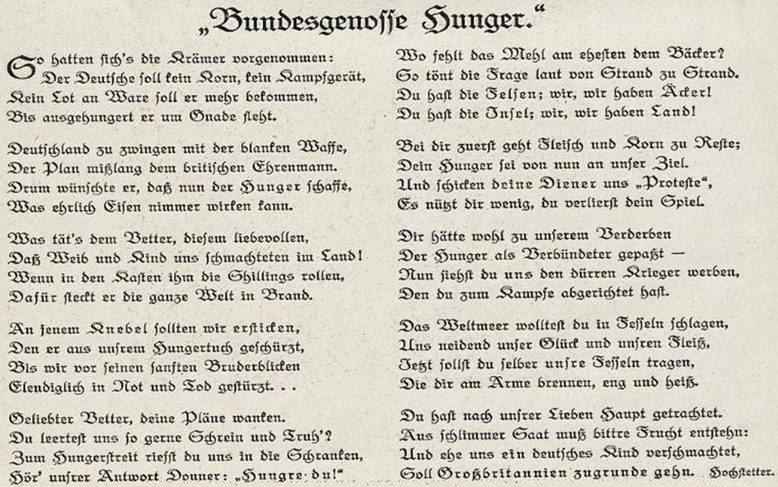 07_Lustige Blaetter_30_1915_Nr09_p6_WKI_Deutschland-Großbritannien_Blockade_Hunger_U-Bootkrieg_Gustav-Hettstetter_Gedicht