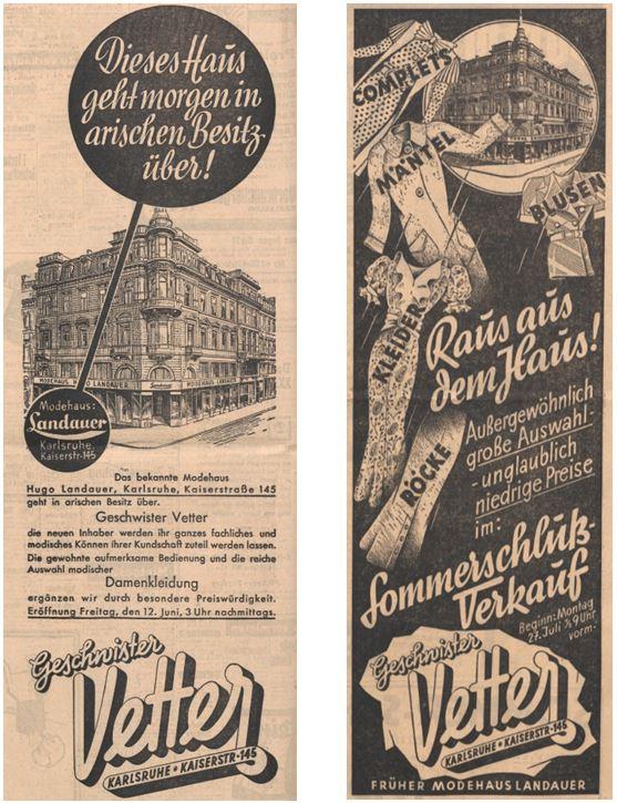 09_Der Fuehrer_1936_07_10_Nr159_sp_Karlsruher Tagblatt_1936_07_26_Nr205_p7_Einzelhandel_Arisierung_Landauer_Kaufhaus_Vetter_Karlsruhe