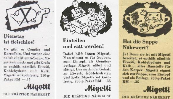 12_Nationalsozialistischer Volksdienst_09_1942_p130_Kunst fuer Alle_57_1941-42_Nr11-12_Anhang_p6_Wiener Illustrierte_61_1942_Nr43_p8_Migetti_Eintopf_Fleischlos_Kriegsernaehrung