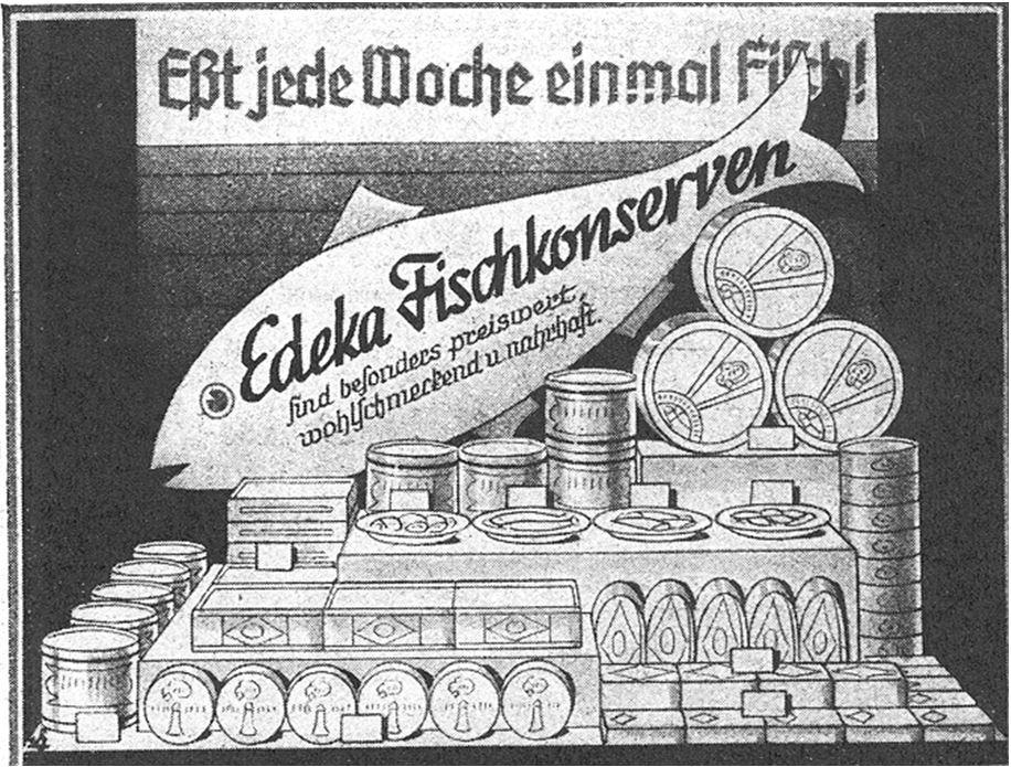 16_Edeka Deutsche Handels-Rundschau_27_1934_p207_Einzelhandel_Schaufensterwerbung_Fisch_Seefisch_Konserven