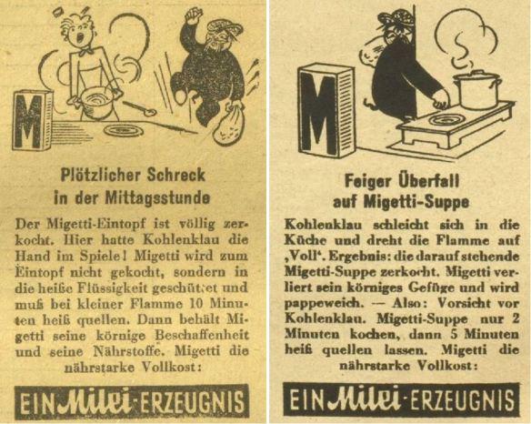 17_Kleine Volks-Zeitung_1943_03_10_Nr069_p8_Wiener Illustrierte_16_1943_Nr14_p8_Migetti_Kohlenklau_Milei_Kochen_Brennstoff