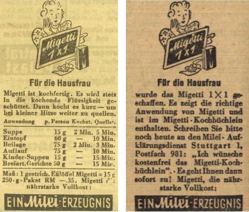 20_Das Kleine Volksblatt_1943_05_31_Nr149_p7_Offenburger Tageblatt_1943_11_04_Nr259_p4_Migetti_Hausfrau_Kochbuch_Rezepte_Milei_Austauschprodukt_Halbfertigprodukt