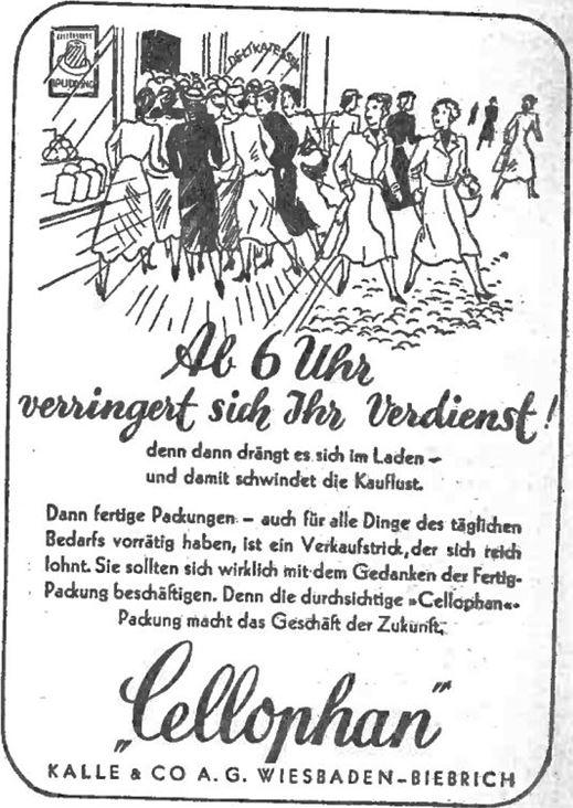 20_Deutsche Handels-Rundschau_29_1936_p945_Cellophan_Verpackungen_Kalle_Wiesbaden_Einkaufen_Ladenschluss