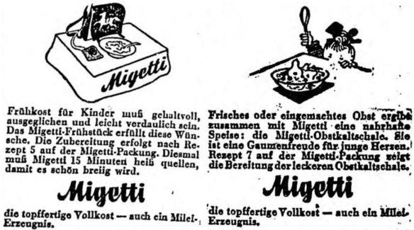 21_Bozner Tagblatt_1944_05_19_Nr116_p3_ebd_05_31_Nr125_p6_Migetti_Fruehstueck_Kaltschale_Austauschstoffe_Molke