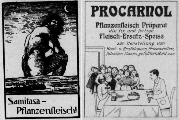 01_Deutscher Reichsanzeiger_1913_05_30_Nr126_p17_ebd_1916_09_22_Nr224_p12_Fleischersatz_Samitasa_Procarnol_Pflanzenfleisch