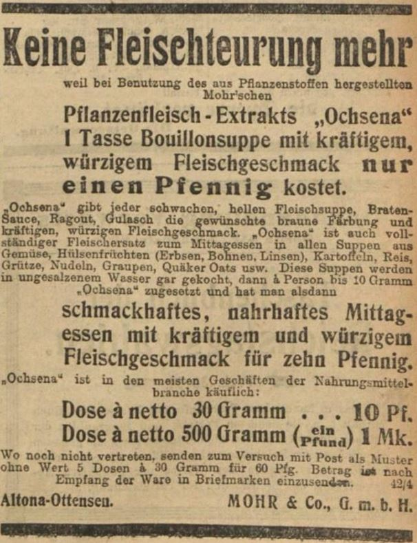09_Vorwaerts_1912_03_14_Nr062_p11_Fleischersatz_Pflanzenfleischextrakt_Ochsena_Mohr_Altona