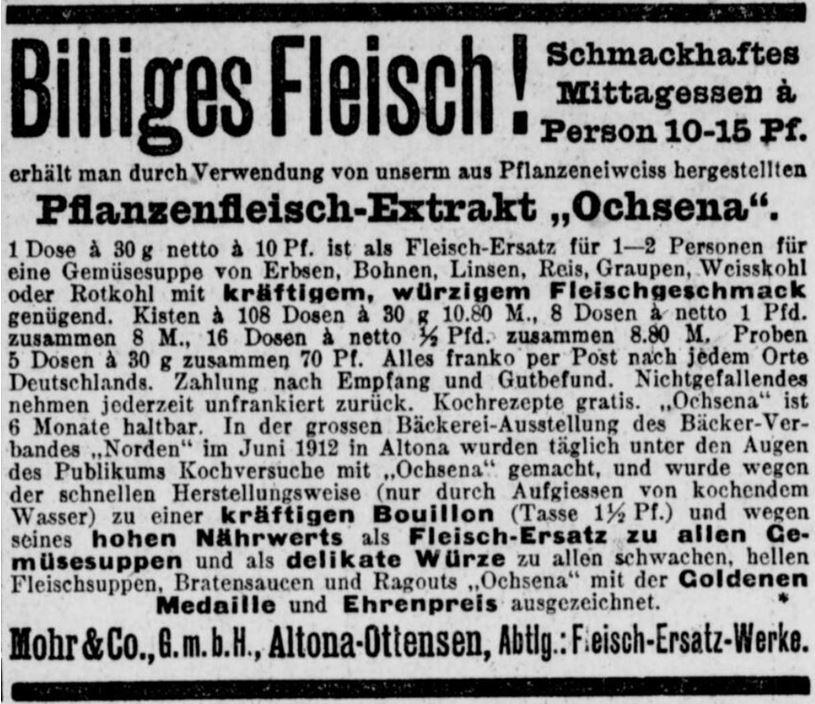 10_Berliner Volks-Zeitung_1912_10_03_Nr465_p9_Fleischersatz_Pflanzenfleischextrakt_Ochsena_Mohr_Altona